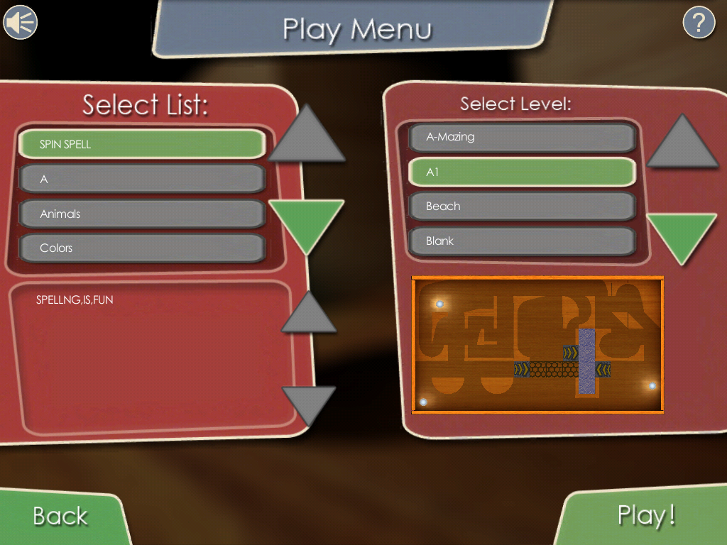 05 Spin Spell Play Menu