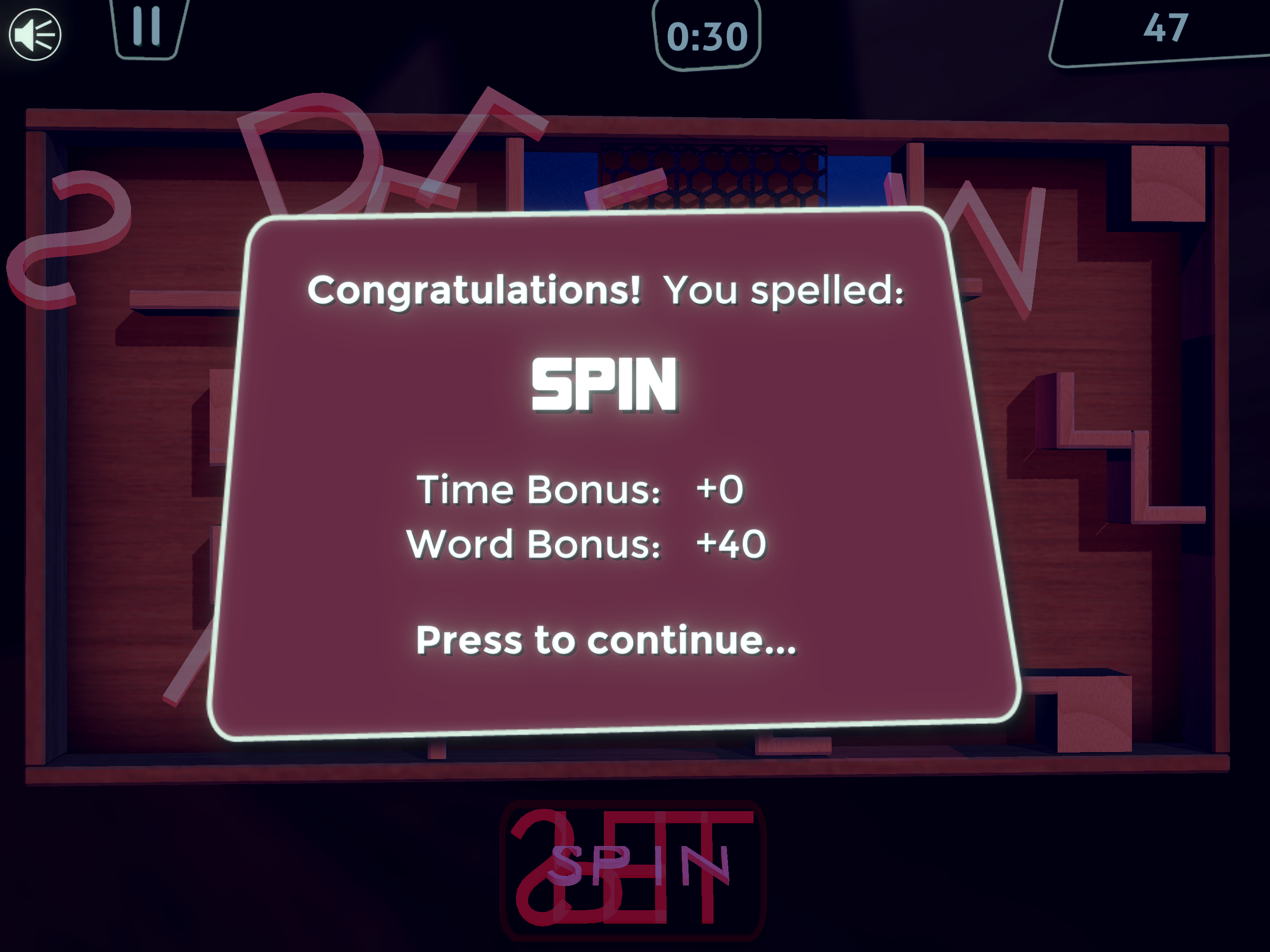 Spin Spell 2 1 Game Over